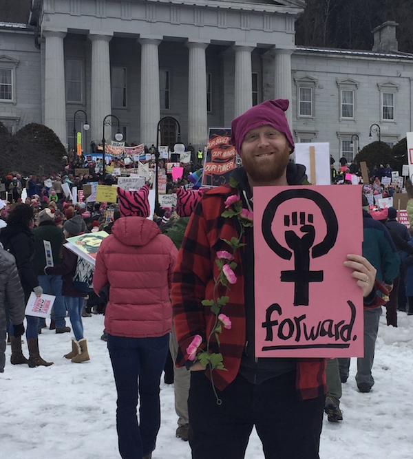 Caleb at the Women's March